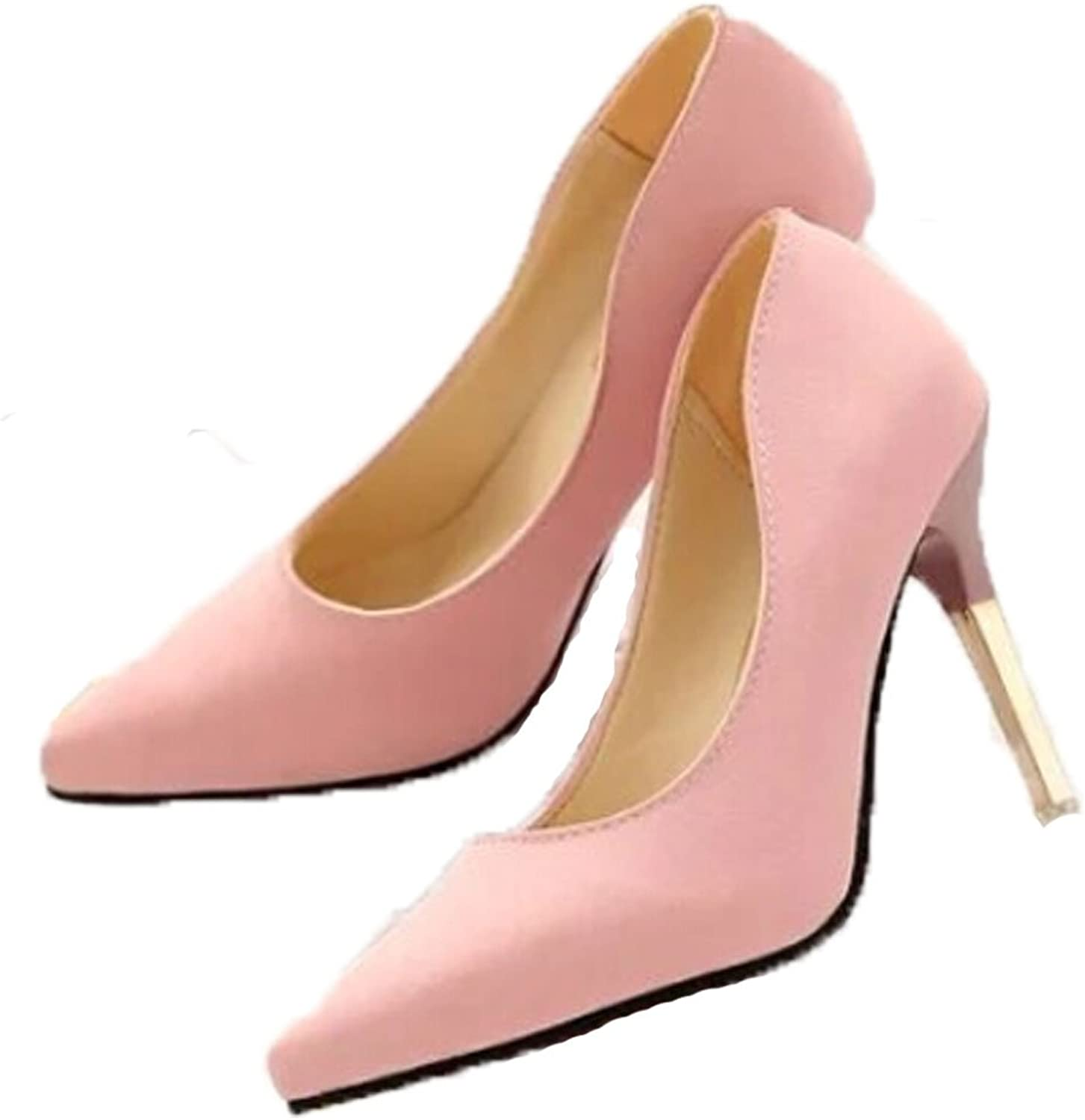 San hojas Suede Thin Heel Pumps OL Wind Pumps Ladies Pink