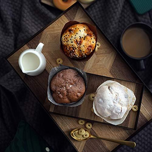 XMSIA Bandeja de Servir Bandeja Decorativa de la Cocina Mesa de la decoración del hogar Placa del Desayuno Hierro Forjado Madera para la Decoración del Hogar (Color : Black, Size : 30x20x2.5cm)