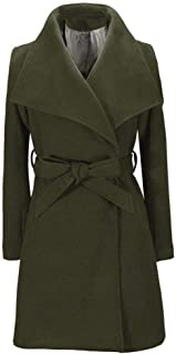 Libermall Womens Trench Coat Long Sleeve Solid Color Wool Lapel Winter Warm Trench Jacket Outwear Overcoat with Belts