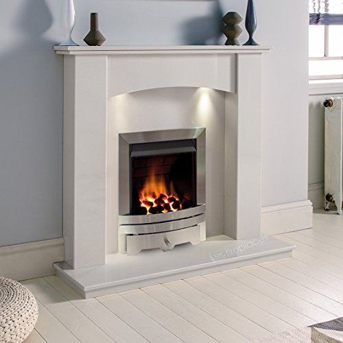 White Marble Stone Modern Curved Wall Surround Gas Fireplace Suite Silver Inset Gas Fire with Downlights