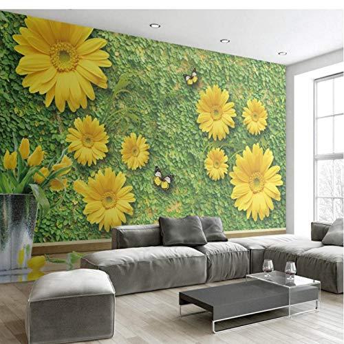 Wuyii fotobehang High Definition groene bloem wilde chrysant vlinder achtergrond woonkamer slaapkamer hotel behang 400 x 280 cm.
