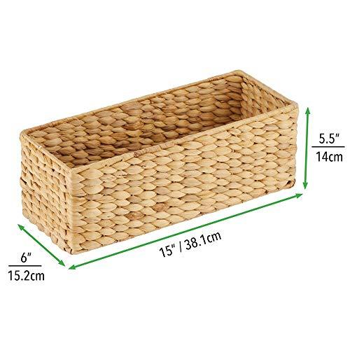 mDesign naturbelassener Flechtkorb aus Wasserhyazinthe – stapelbarer Weidenkorb – ideale Aufbewahrung für das Badezimmer – bambusfarben - 6