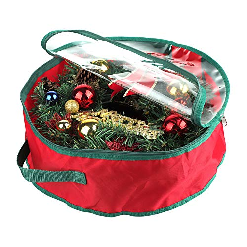 GREENWISH Xmas Wreath Storage Bag, Garland Holiday Container with Clear Window, Holiday Christmas Storage Bag for 15/19 Inch Wreaths