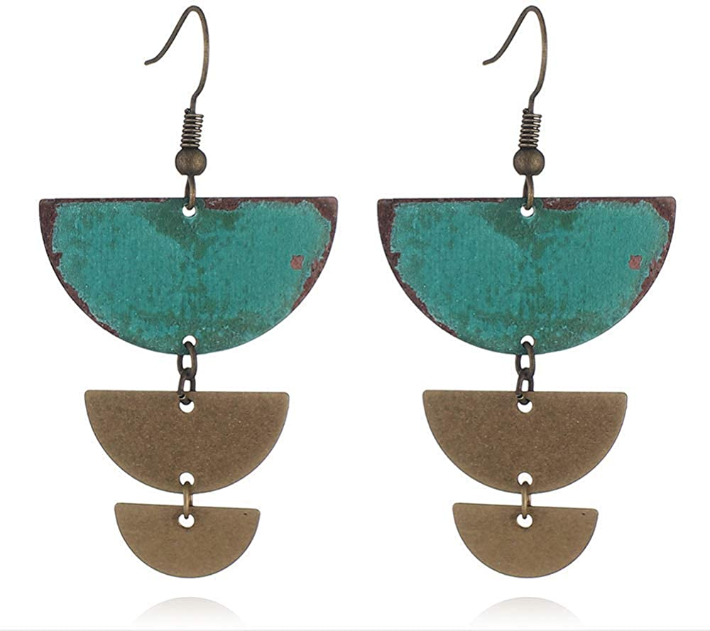 Vintage Earrings Geometric Patina Antique Gold Statement Half Circle Tiered or Rectangle Drop Dangle Earrings for Women Girls
