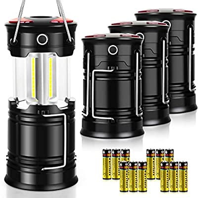 AKMONA Camping Lantern, 4 Pack High Lumens LED Lanterns Battery Powered, 4 Light Modes, Suitable for Hurricane, Emergency Light, Storm, Outages, Camping, Fishing, Outdoor Collapsible Portable Lanterns