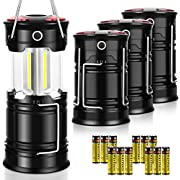 AKMONA Camping Lantern, 4 Pack with 16 Batteries High Lumens LED Lanterns Battery Powered, Suitable for Hurricane, Emergency, Storm, Outages, Camping, Fishing, Outdoor Collapsible Portable Lanterns