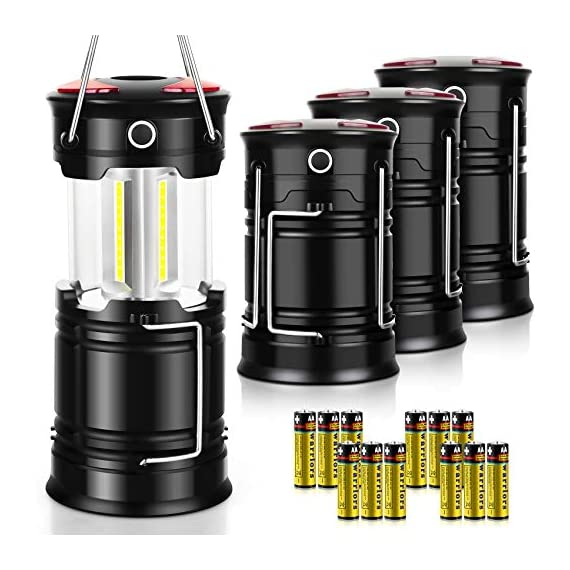 Akmona camping lantern, 4 pack with 16 batteries high lumens led lanterns battery powered, suitable for hurricane… 1 super bright & large area brightness. 360-degree covered lighting with top spotlight provides high visibility to meet large area brightness. 4 lighting modes. Collapsible cob led lantern. Flashlight. Red warning light(strobe & sos light). The lantern is a vital filed survival tool and camping accessories. Long last run time. Using 3*aa batteries (included) as power supply enables it can be continuously used a long time, which brings you to light for a long time to fulfill your needs. Energy-saving and suitable for camping, power outage, night fishing & hunting, emergency usage, hurricane and survival kit, etc. Novel design, metal handle, and magnet base. Collapsible design (by pushing and pulling the handle) can turn on or close the lantern. A metal portable lantern can be used as a flashlight, vertical lift as a lantern, and can hang it on trees or others. 3 strong magnets on the base can be adsorbed on any metal surface to free your hands.