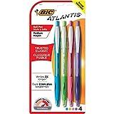 BIC Atlantis Original Retractable Fashion Ball Pen, Medium Point (1.0 mm), Assorted, 4-Count