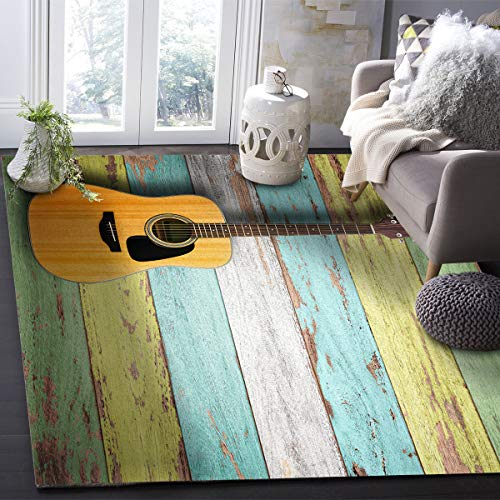 YOKOU Area Rugs Mat, Music Theme Vintage Guitar Rustic Old Colorful Wooden Plank Rectangle Floor Carpet with Non-Slip Rubber Backing for Living Room Office Kids Room Bedroom, 2'7'x5'