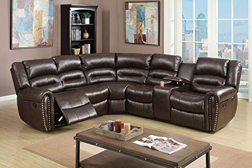 Esofastore Living Room Reclining Motion Home Theater Sectional w Console...