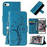Miagon Portafoglio Flip Custodia per iPhone 6 Plus/6S Plus,Carina Farfalla Albero Gatto Design PU Pelle Libro Stile Magnetica In piedi Funzione Cover,Blu