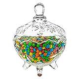 ComSaf Bonboniere mit Deckel Ф14cm, Zuckerdose aus Glas Klein, Lebensmittelechter Glasbehälter für Snacks
