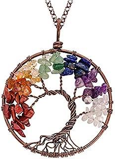 NIUTA Tree of Life Natural Healing Crystals Quartz Necklace 7 Chakras Gemstone Pendant