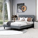 Upholstered Platform Bed Frame/Wooden Slats Support/No Box Spring Needed Light Grey, Queen