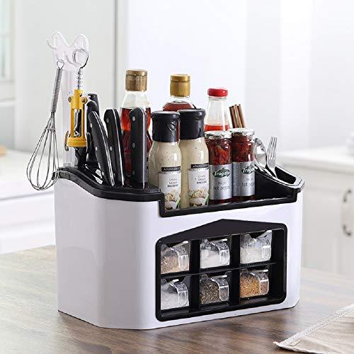 Especiero Cocina , Organizador de especias con 6 tarros de especias para condimento,colección de soportes de almacenamiento Estante de Cocina (15 x 9,2 x 7,5 pulgadas)