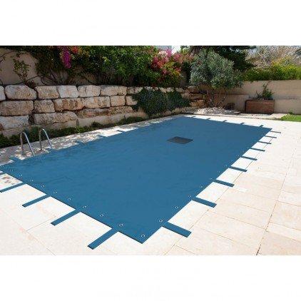 Provence Outillage 2505 Lona Rectangular piscina de 8 x 14, Color Gris Azulado