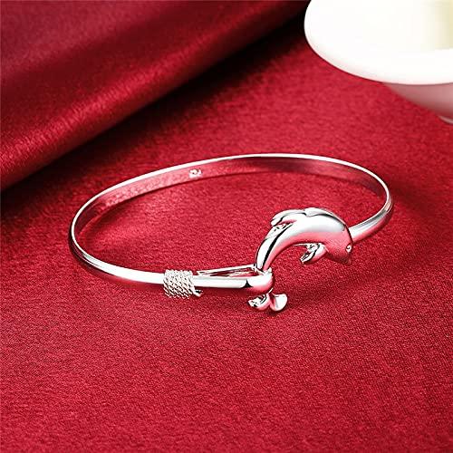 Elnker 925 Pulsera de Plata de los Dolphin Bangle para Mujer para Mujeres Fiesta de Encanto de Compromiso