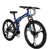 "Eurobike OBk G4 Folding Mountain Bike 21 Speed Bicycle Full Suspension MTB Foldable Frame 26"" 3 Spoke Wheels (Blue)"