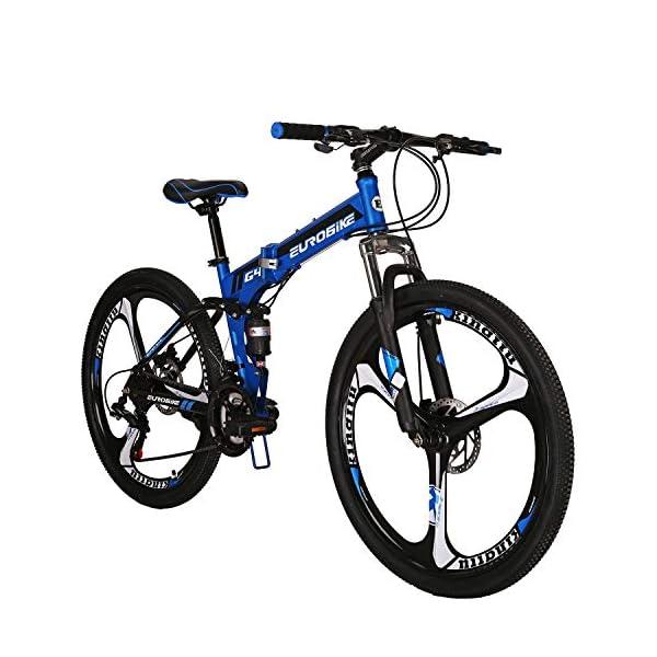 "Mountain Bikes Eurobike OBk G4 Folding Mountain Bike 21 Speed Bicycle Full Suspension MTB Foldable Frame 26"" 3 Spoke Wheels"