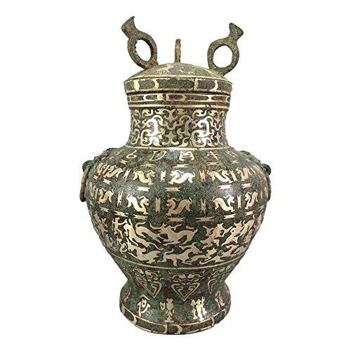 LAOJUNLU - Botella de caza de plata de imitación de bronce antiguo de imitación de joyería de estilo tradicional chino solitario