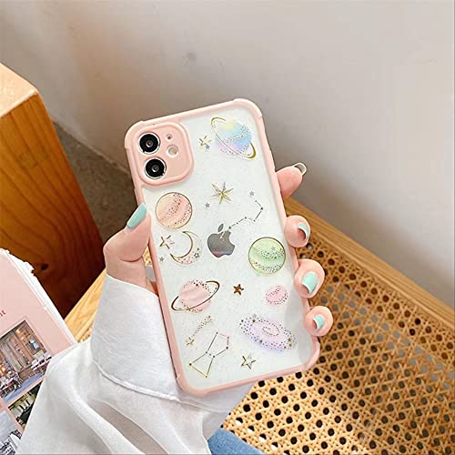 Fashion Epoxy Glitter Star Moon Funda para teléfono para iPhone 11 Pro MAX XR XS MAX 7 8 Plus X SE Cubierta Trasera Transparente a Prueba de Golpes para iPhone 6 6s Rosa