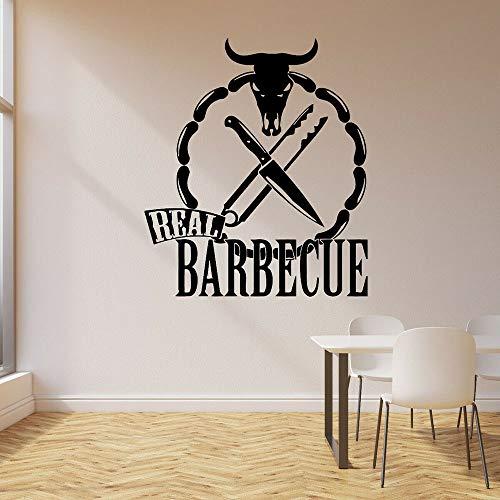 DLYD Echte BBQ Wandtattoo Wurst Stierkopf Messer Kochen Essen Rindfleisch Grill Restaurant Interior Art Vinyl Fensteraufkleber 28x32cm
