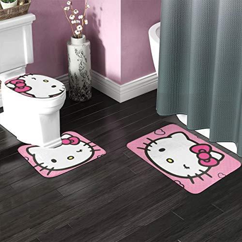 Hello Kitty Badezimmerteppich-Set, 3-teilig, rutschfeste Badematte + U-förmiger Konturteppich + WC-Deckelbezug, weiche rutschfeste Matten Teppich Badezimmer Mattenbezug