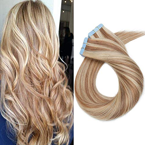 Extenson Capelli Veri Biadesivo Meches Tape in Hair Extension Adesive Remy Human Hair 50g/set 20 Fasce - 45cm 12/613 Marrone Chiaro/Biondo - Lisci Naturali Umani Invisibile Lunghi