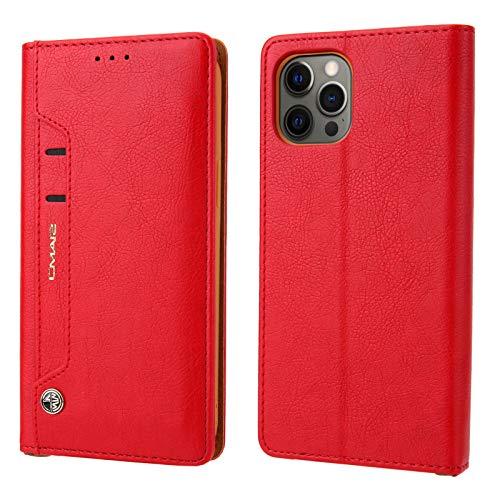 TechCode iPhone 12 Pro Bolso, Premium Funda de Piel sintética con Tapa Tipo Folio con Ranura para Tarjeta Cartera con Soporte Funda de TPU a Prueba de Golpes para iPhone 12 Pro MAX 6,7 Pulgadas, Rojo