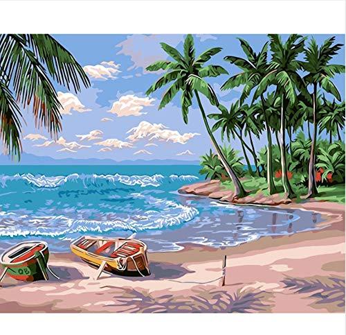 Hawaii digitaal schilderij, motief zomer, vakantie, landschap, knutselen, digitaal schilderwerk, moderne wand, canvas, uniek, 40 x 50 cm, geen lijst