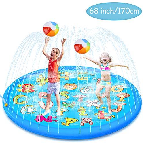 aovowog Splash Pad para niños,170cm/68''de Juego de Agua al Aire Libre, Tapete de Juegos de Agua para Niñas y Niños,Juguetes de Jardín para Niños pequeños