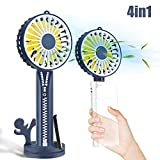 Elegant Choise Handheld Fan Portable Mini Fans USB Fan Rechargeable 3 Speed Operated Cooling Folding 4 in 1 Design for Women Gilrs Kids Travel Office Room Household Kitchen Outdoor (Navy Blue)