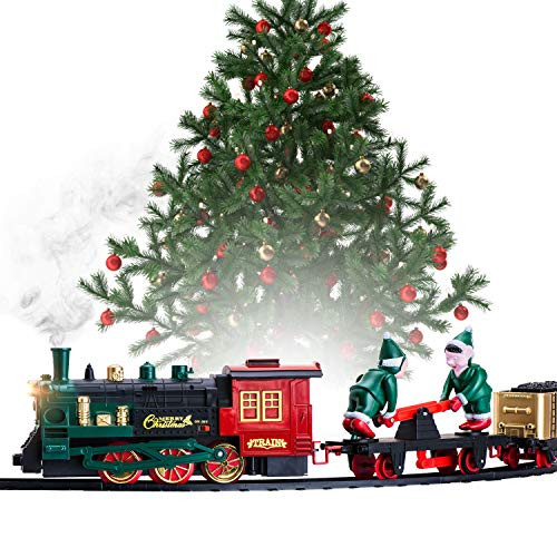 Christmas Train Set for Under the Tree with Lights, and Sounds - Holiday Train Around Christmas Tree w/ Large Tracks | Battery Operated Electric Train Set with 160 Inches of Track and 2 Xmas Elves