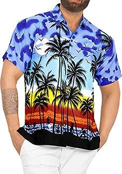 LA LEELA Men s Regular Fit Palm Tree Button Up Short Sleeve Hawaiian Shirt L Blue_W140
