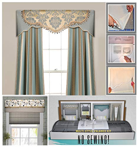DIY Valance Kit - No Sewing, Three Styles In One Kit, Fit All Window Sizes, Including Bay Windows, Reusable, Pattern, No-Sew Room Decor, Bedroom, Living Room, Dining Room, Kitchen Curtain, Cornice