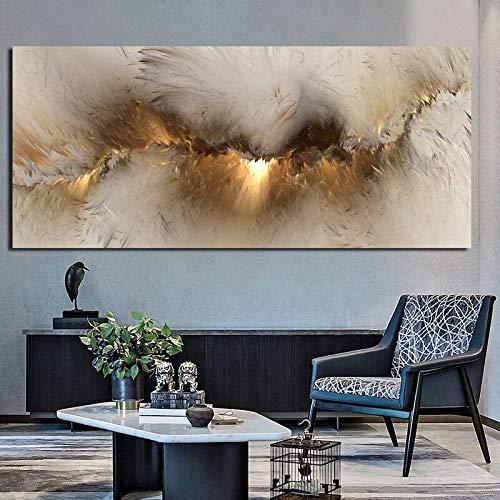 wZUN Nubes Amarillas Grises Pintura al óleo Abstracta Piensa en la Pintura de Pared Independiente como Lienzo de Sala de Estar póster e impresión de Arte Moderno 50x115cm