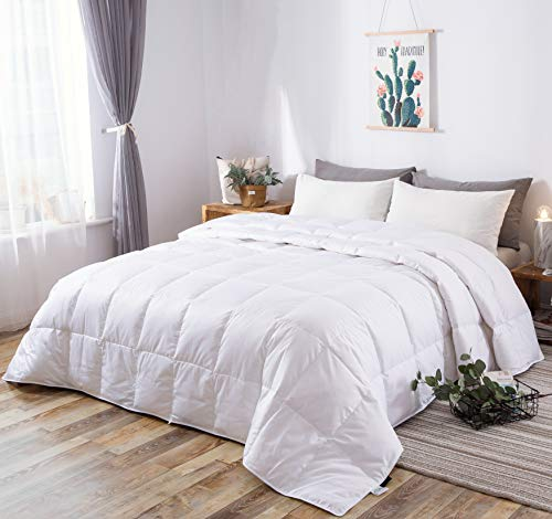 KumiQ Lightweight 100% White Goose Down Blanket Comforter Duvet for Summer,Machine Washable,Soft Down-Proof Cotton Shell with No Sound,750+Fill Power,White,King Size