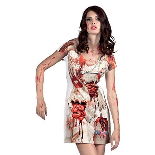 Boland- Vestito Fotorealistico Horror Zombie per Adulti, Bianco/Rosso, S, 84303