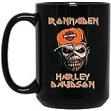 Iron maiden zombie lady harley davidson tazza da caffè - regalo nero per amico amante madre padre marito moglie figlio figlia fratello in halloween giorno della laurea natale compleanno ringraziamento