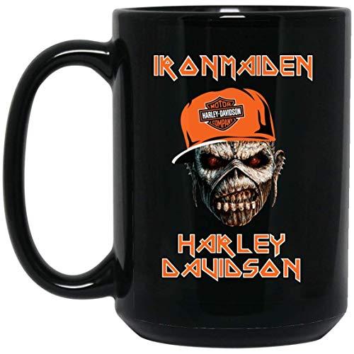 Iron maiden zombie lady harley davidson taza de café - regalo negro para amigo amante madre padre esposo esposa hijo hija hermano en halloween día de graduación cumpleaños de navidad acción de gracias