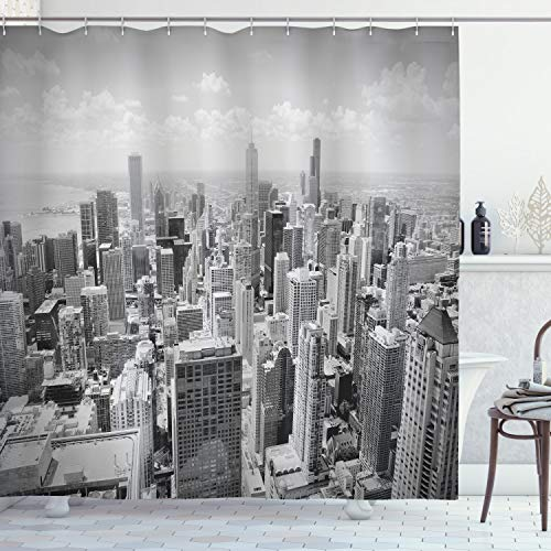 """Ambesonne USA Shower Curtain, Chicago City Skyline Aerial View Contemporary Famous Touristic Places Picture Print, Cloth Fabric Bathroom Decor Set with Hooks, 75"""" Long, Black Grey"""