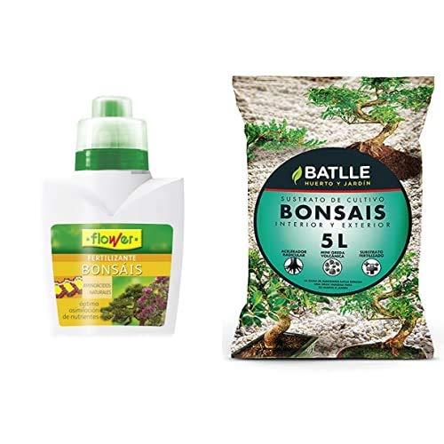 Flower 10724 10724-Abono líquido bonsáis, 300 ml, No Aplica, 9.3x6.2x15.2 cm + Semillas Batlle Sustratos Bonsais 5l