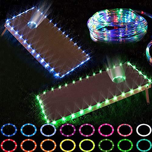 Funesla Cornhole Edge and Ring Lights, 16 Colors Change LED Corn Hole Board Lights with Remote Control for Family Backyard Bean Bag Toss Cornhole Game, 2 Set