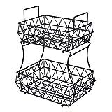 HUIFAHUO - 2 Tier Fruits Vegetables Breads Snacks Basket Display Stand - Screws Free Design(Black).