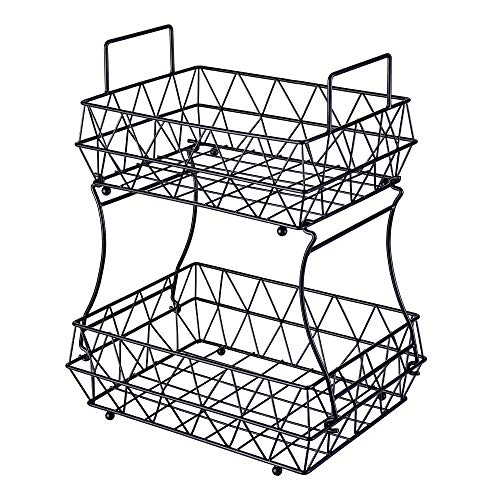 HUIFAHUO - 2 Tier Fruits Vegetables Breads Snacks Basket Display Stand - Screws Free Design(Black).