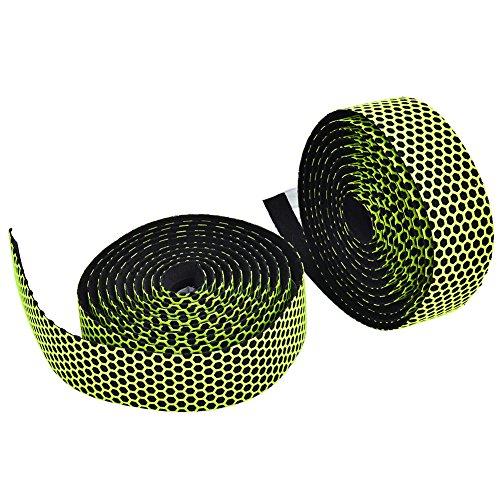 Topiky Fietsstuurband, 2 stuks 2 m stuur zweetabsorberende anti-slip tape met 1 paar einddoppen voor racefiets mountainbikes, groen