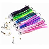 Kunsilane Trolling Skirt Tuna Lures Set of 5pcs 8 inch Fishing Saltwater Lures for Mahi Marlin Dolphin Wahoo,with...