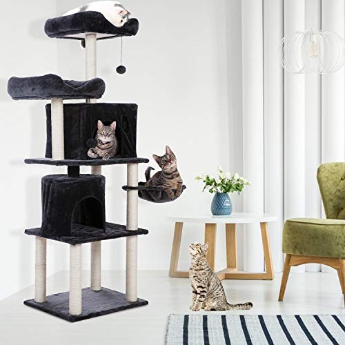 UFLIZOGH - Albero per gatti, 160 cm, torre da arrampicata con tiragraffi in peluche, per gatti di grandi dimensioni (grigio scuro)