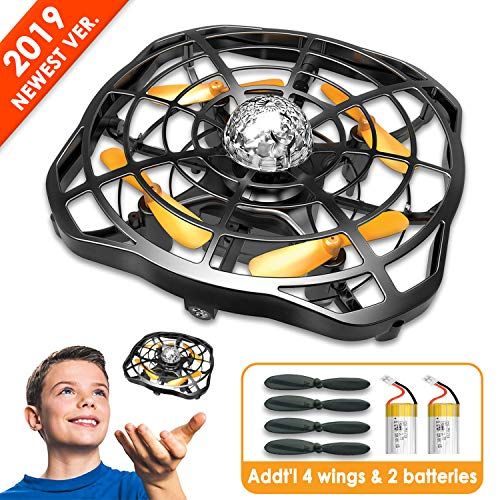 Flying Toys Drones for Kids, Hand Controlled Mini Drone Helicopter with Two Rechargeable Batteries, Infrared Sensor Auto-Avoid Obstacles 360°Rotating LED Light, Best Boys Girls and Kids Gifts (Black)