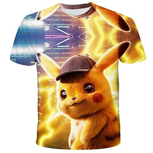 PERRTWDLF Sportswear Pikachu Manches Courtes Unisexe Impression 3D t-Shirt Pokemon Homme Femme été Anime Japonais drôle Chemise Adolescent sportswear-1102_L